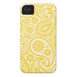 Modelo floral amarillo del monograma de Paisley Case-Mate iPhone 4 Cárcasa
