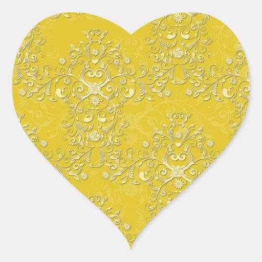 Modelo floral amarillo vibrante del damasco calcomanías corazones