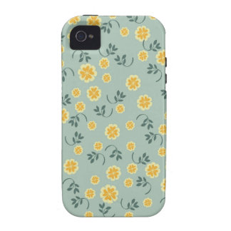Modelo floral amarillo y azul del ranúnculo retro  Case-Mate iPhone 4 fundas