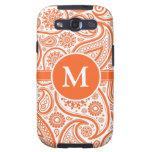 Modelo floral anaranjado del monograma de Paisley Galaxy S3 Cárcasa