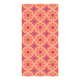 Modelo floral anaranjado rosado abstracto colorido tarjeta fotografica personalizada
