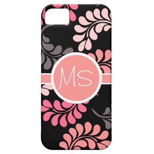 Modelo floral anaranjado rosado coralino del iPhone 5 fundas