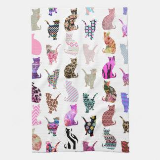 Modelo floral azteca de las rayas de los gatos cap toallas de cocina