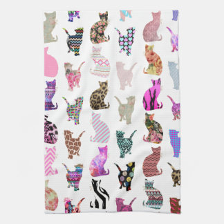 Modelo floral azteca de las rayas de los gatos cap toalla