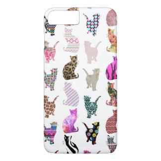 Modelo floral azteca de las rayas de los gatos funda iPhone 7 plus