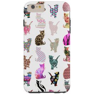 Modelo floral azteca de las rayas de los gatos funda resistente iPhone 6 plus