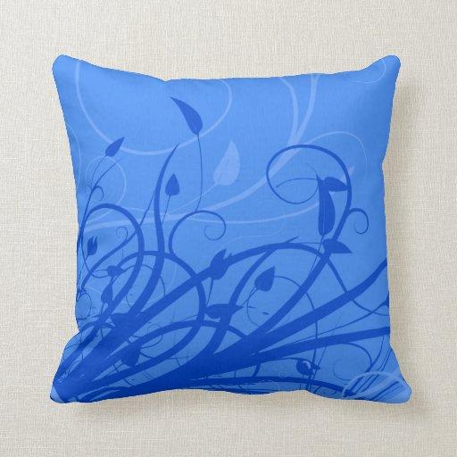 Modelo floral azul de la hoja de Swilr Cojin