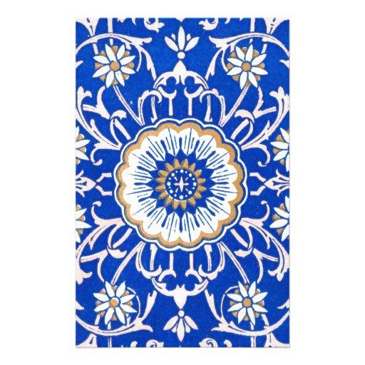 Modelo floral azul de la mandala papelería personalizada