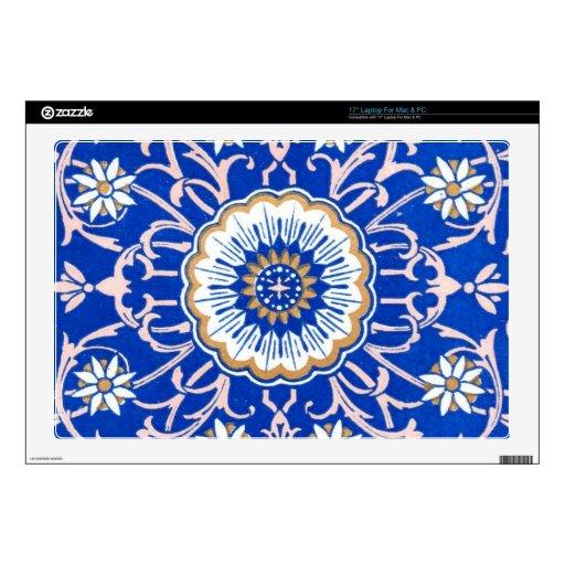 Modelo floral azul de la mandala skins para portátiles