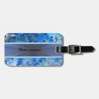 Modelo floral azul de la margarita etiquetas maleta