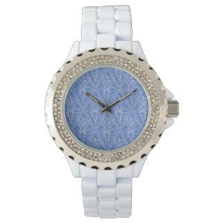 Modelo floral azul del diamante del bígaro reloj de mano