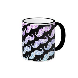 Modelo floral azul rosado divertido del bigote del taza de café