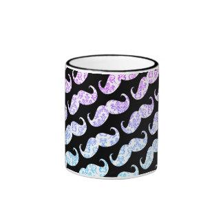 Modelo floral azul rosado divertido del bigote del taza de dos colores