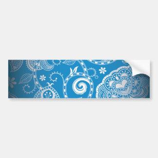 Modelo floral blanco azul del damasco del vintage pegatina para auto