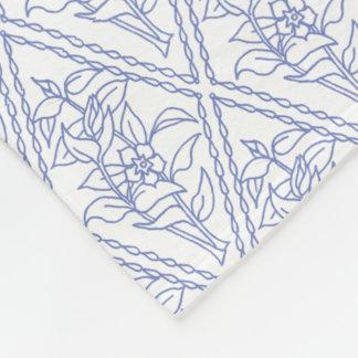 Modelo floral blanco azul del diamante del bígaro manta de forro polar