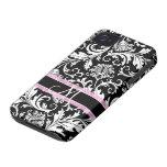 Modelo   floral blanco negro de los damascos Case-Mate iPhone 4 funda