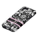 Modelo   floral blanco negro de los damascos iPhone 5 Case-Mate funda