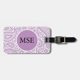 Modelo floral blanco púrpura de Paisley Etiqueta De Maleta
