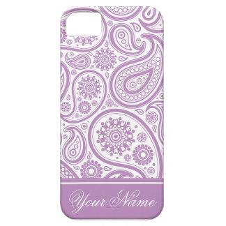 Modelo floral blanco púrpura de Paisley iPhone 5 Cárcasas