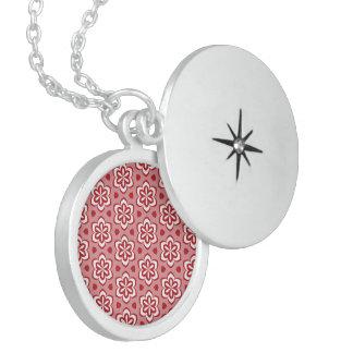 Modelo floral blanco rojo abstracto medallón