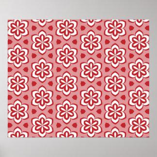 Modelo floral blanco rojo abstracto póster