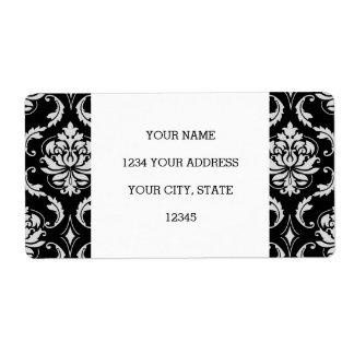 Modelo floral blanco y negro clásico del damasco etiquetas de envío