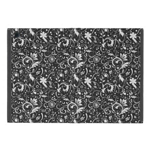 Modelo floral blanco y negro del damasco iPad mini fundas