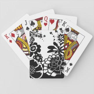 Modelo floral blanco y negro del gráfico del baraja de póquer