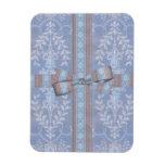 Modelo floral Brown azul del papel pintado de la d Imán De Vinilo