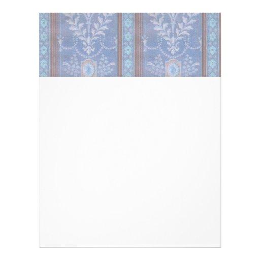 Modelo floral Brown azul del papel pintado de la d Membretes Personalizados