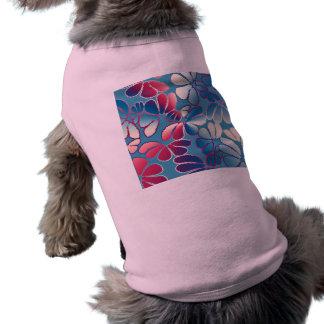 Modelo floral caprichoso magenta azul del Doodle Playera Sin Mangas Para Perro