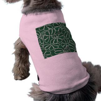Modelo floral caprichoso verde del Doodle del Playera Sin Mangas Para Perro