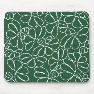 Modelo floral caprichoso verde del Doodle del Alfombrilla De Ratón