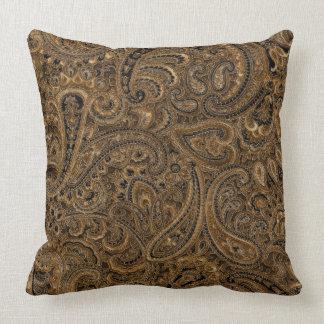 Modelo floral de Brown, beige y negro de Paisley Cojín Decorativo