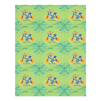 Modelo floral de la bicicleta del verano membrete a diseño
