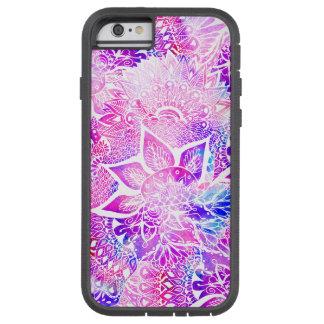 Modelo floral de la mandala del boho azul púrpura funda para  iPhone 6 tough xtreme