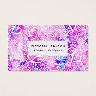 Modelo floral de la mandala del boho azul púrpura tarjetas de visita