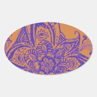 Modelo floral de la mandala del moreno y de la pegatina ovalada
