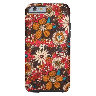 Modelo floral de la materia textil del vintage funda de iPhone 6 tough