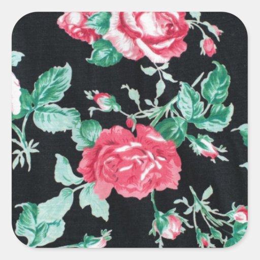 modelo floral de la moda del vintage pegatina cuadrada