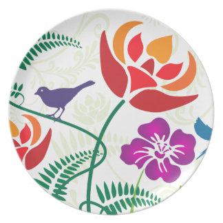 Modelo floral de la naturaleza del pájaro plato de comida