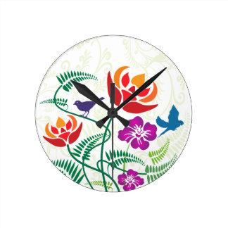 Modelo floral de la naturaleza del pájaro relojes de pared