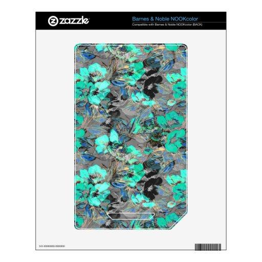 Modelo floral de la textura de la pintura de la la skin para el NOOK color