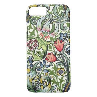 Modelo floral de la zaraza del lirio de oro de funda iPhone 7