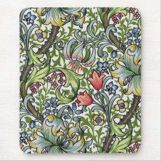 Modelo floral de la zaraza del lirio de oro de tapete de raton