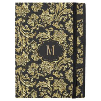 Modelo floral de los damascos del vintage negro y