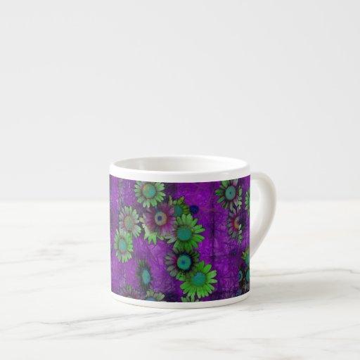 Modelo floral del arte taza de espresso