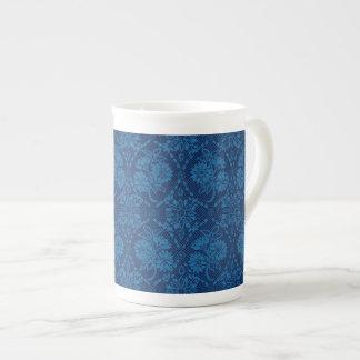 Modelo floral del cordón de los azules añiles taza de té