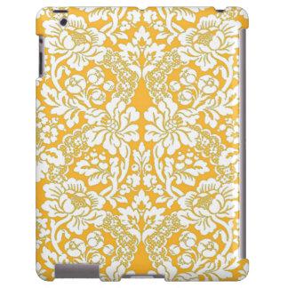 Modelo floral del cordón del damasco de la crema funda para iPad