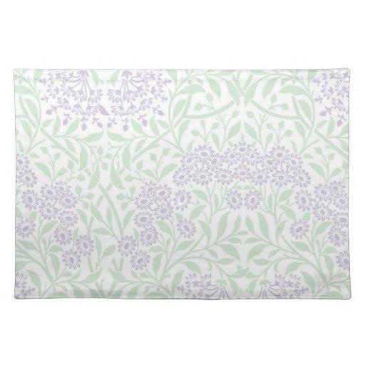 Modelo floral del damasco de la lila verde mantel individual